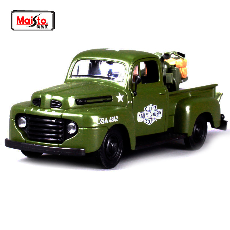 Maisto 1:24 1948 FORD F-1 PICKUP black red tarmac orange Diecast Model Car Toy New In Box Free Shipping