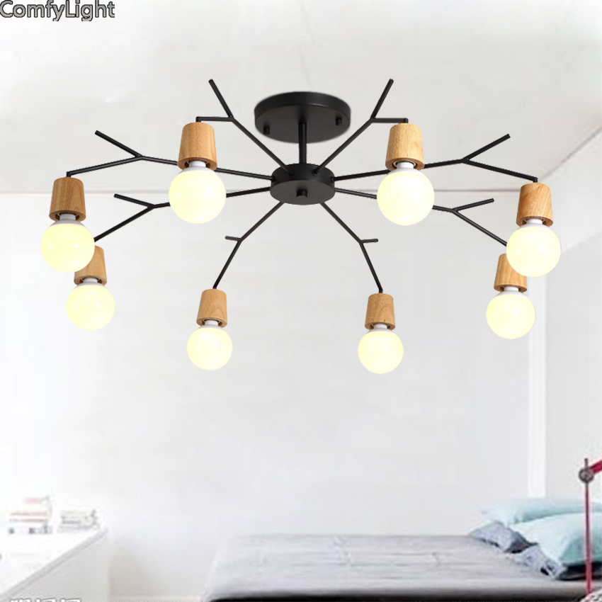 Art Spider Pendant Lamp Modern Nordic Retro Edison Bulb Light Vintage Loft Antique wood LED E27 Home Lighting Living Room Shop mordern nordic retro edison bulb light chandelier vintage loft antique adjustable diy e27 art spider ceiling lamp fixture lights
