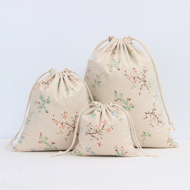 Literary Cotton Linen Drawstring Bag Vintage Flower Plant Coffee Gift Candy Packaging Bags Women Travel Pouch