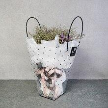 Горошек цветок сумка для букета с ручкой прозрачный Подарочный пакет цветочный магазин упаковка 5 шт./лот