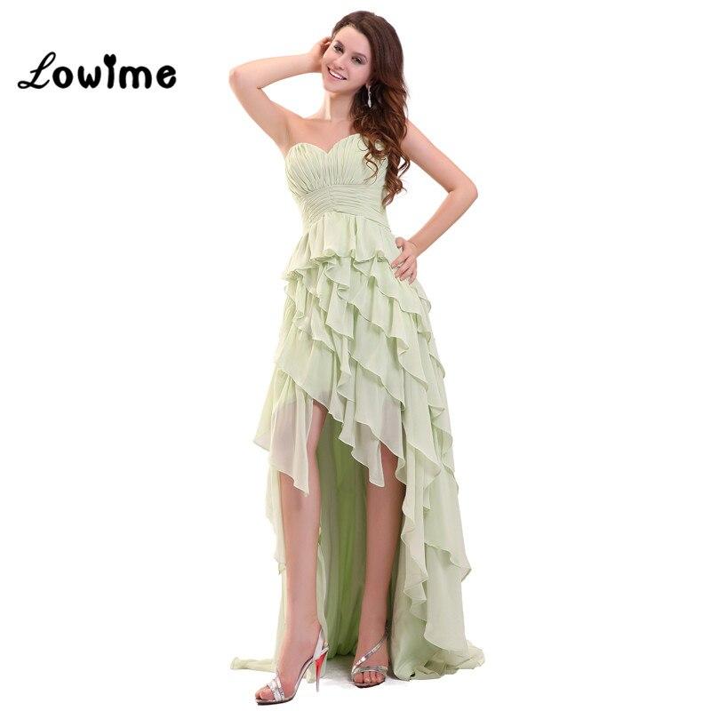 민트 그린 쉬폰 계층 높은 낮은 댄스 파티 드레스 레이스 여름 정장 이브닝 드레스 vestido formatura 이브닝 가운