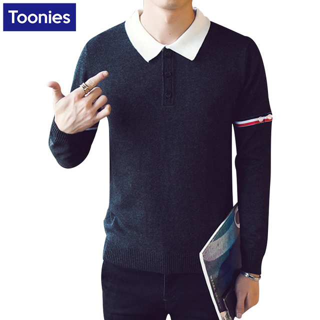 New Autumn Man's Casual Lapel Collar Sweater shirts Male Long Sleeved Patchwork Sweaters 2016 Fashion New Men's Slim Sweater Top