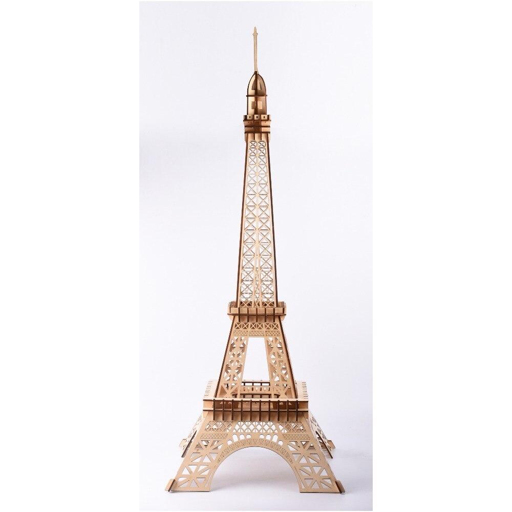 3D puzzle en bois De Découpe Laser 3D Woodcraft Construction Modèle jouets pour enfants Architecture Assemblée Kit-Le Penchée Tour Eiffel grand