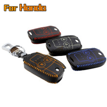key case for honda crv cr-v 2012 2013 Odyssey 2014 Genuine Leather Car Key Cover wallet holder key2a Free shipping
