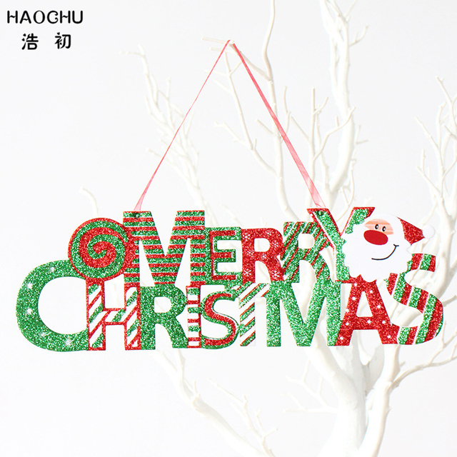 haochu 2pcs colorful merry christmas sign paper card for kids room door hanging props christmas tree
