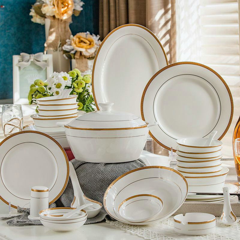 56piece Set Royal Floral Painting Fine Bone China Unit Of Dinner Buffet Dishes Porcelain