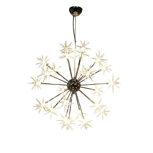 Acrylic snowflake LED Pendant Light creative 32 light chrome color metal body PMMA lampshade Decoration Light suspension lamp
