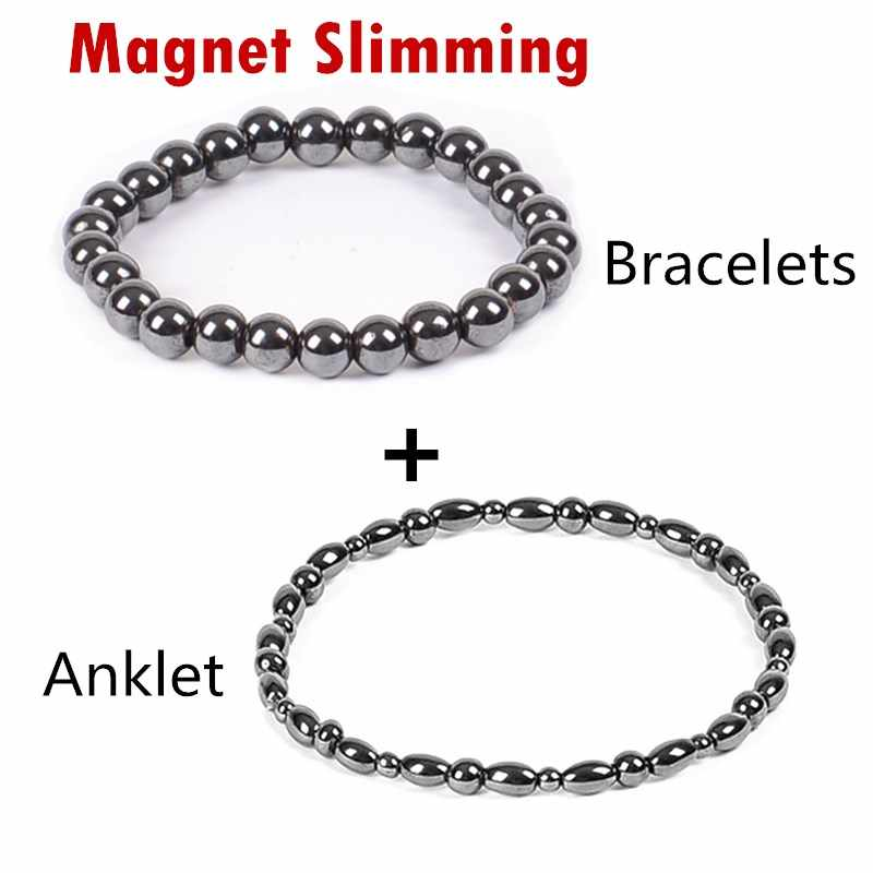 2 Pc/lot Weight Loss Magnet Bracelet+Anklet Black Stone Magnetic Therapy Bracelet Anklet Weight Loss Product Health Care jewelry