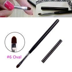 BQAN 6 # ovale UV Gel brosses acrylique Nail Art Design constructeur bricolage bois ongles outils Nail Art pinceau stylo peinture dessin