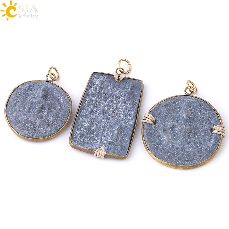 CSJA Thai Amulet Slide Pendant Medium Size Vintage Round Square Charms For Men Women Statement Necklace Buddha Jewelry S324