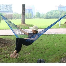 50pcs Single Portable Meshy Hammock 240*80cm Hanging Bed Outdoor Sleeping Hamac High Strength Stripe Max Load 100KG ZA1070(China)