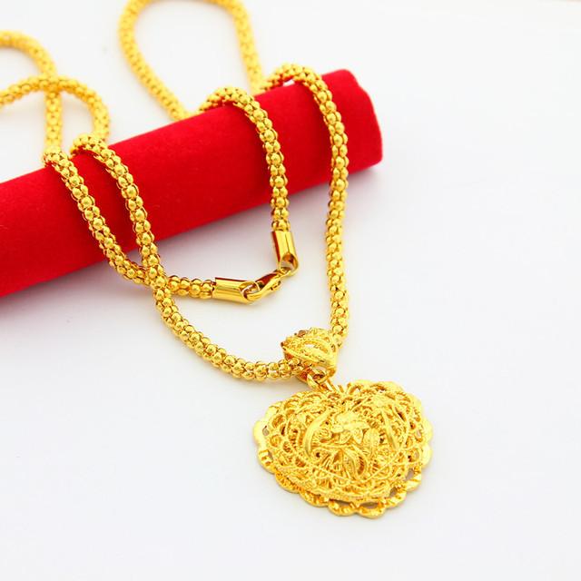 Big Love Corazón Colgante Collar con 24 K Chapado En Oro Joyería de Cadena de Las Palomitas Cadena Del Corazón Del Amor Colgante, Collar para el Partido