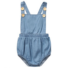 Здесь можно купить  2017 Newborn Baby Rompers Girls Summer Clothes Sweet Baby Girls Kids Sleeveless Romper Kids Girls Blue Jumpsuit Clothes Outfits  Baby Clothing