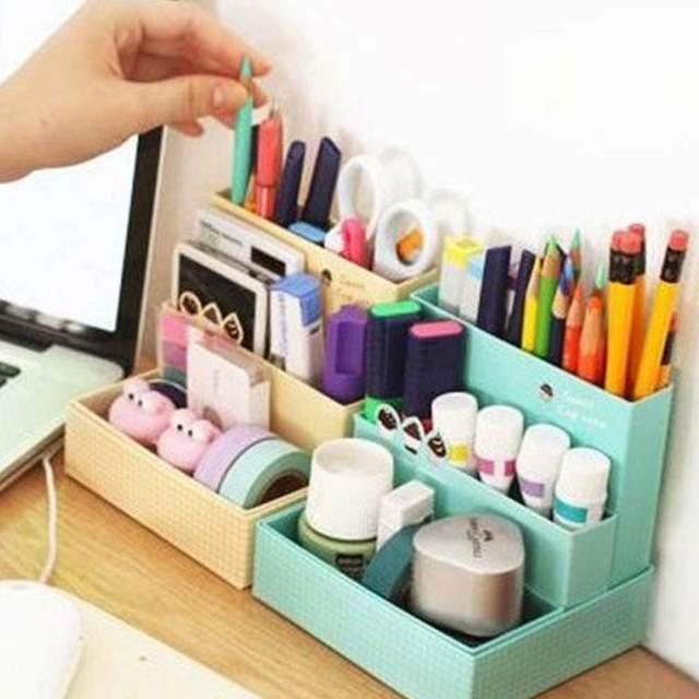 DIY Paper Board Storage Box Desk Decor Stationery Makeup Cosmetic Table Decorative  Storage Boxes Cardboard Home Box