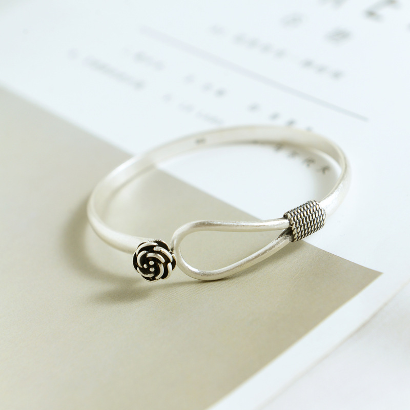 925 Sterling Silver Bracelet Retro Rose Flower Open Female Personality