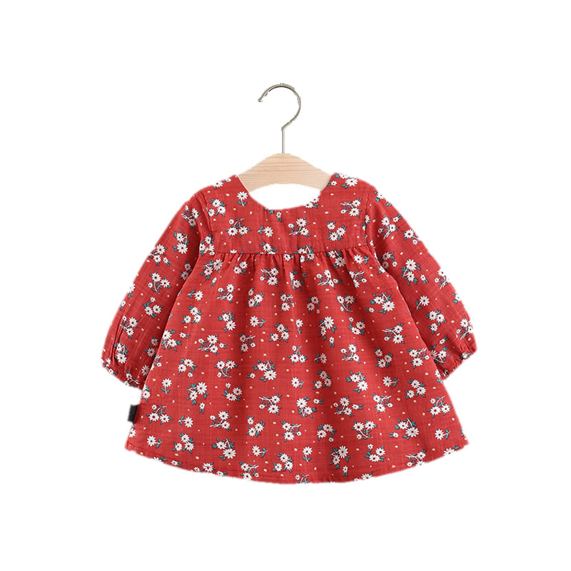 Floral Baby Dress Loose Style Infant Dress Cotton Long Sleeve Toddler Dresses for Girls Fashion Baby Girls Clothing