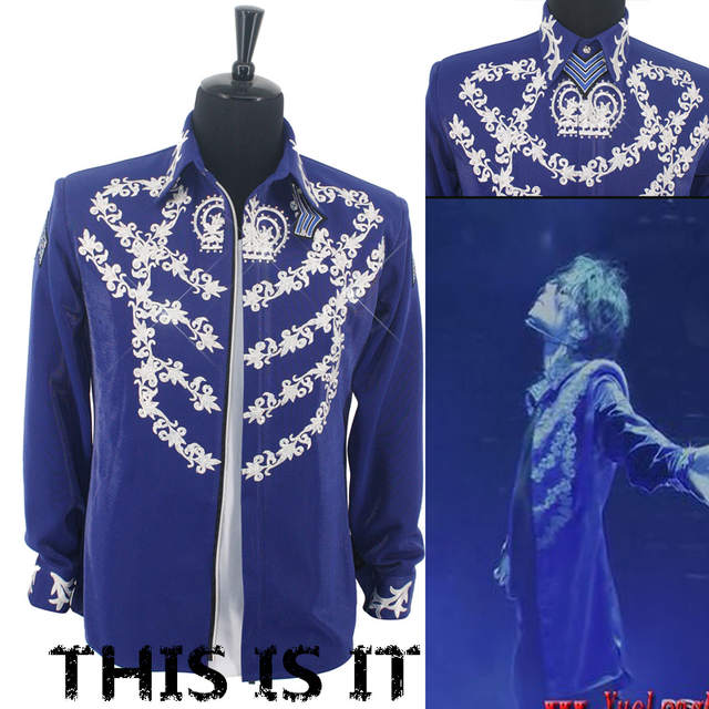 Online Shop Rare MJ Michael Jackson This is it Blue 50TH BIRTHDAY Printing  Crystal JACKET Outerwear  157729180fe1