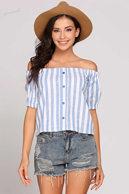979421299 Fashion Women Girls Summer Slash Neck Off Shoulder Blouse White and Blue  Striped Short Sleeve Button Up Shirt Top