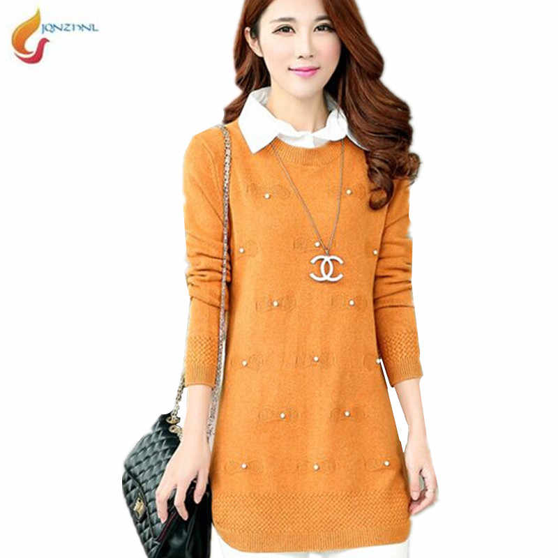 JQNZHNL Spring and Autumn new large size women Korean shirt collar Fake two Medium length knit sweater long-sleeved sweater G377
