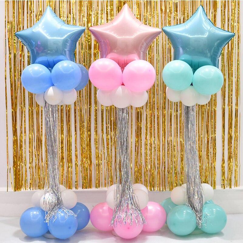 2set aluminium ballong 120cm plastpinne kolumn bas och stå kvast - Semester och fester