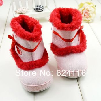 BX37 6pairs/lot New Warm Snow Boot Edelweiss with Zipper Baby Shoes Prewalkers First Walkers Footwear Infant Toddler Girls Boots