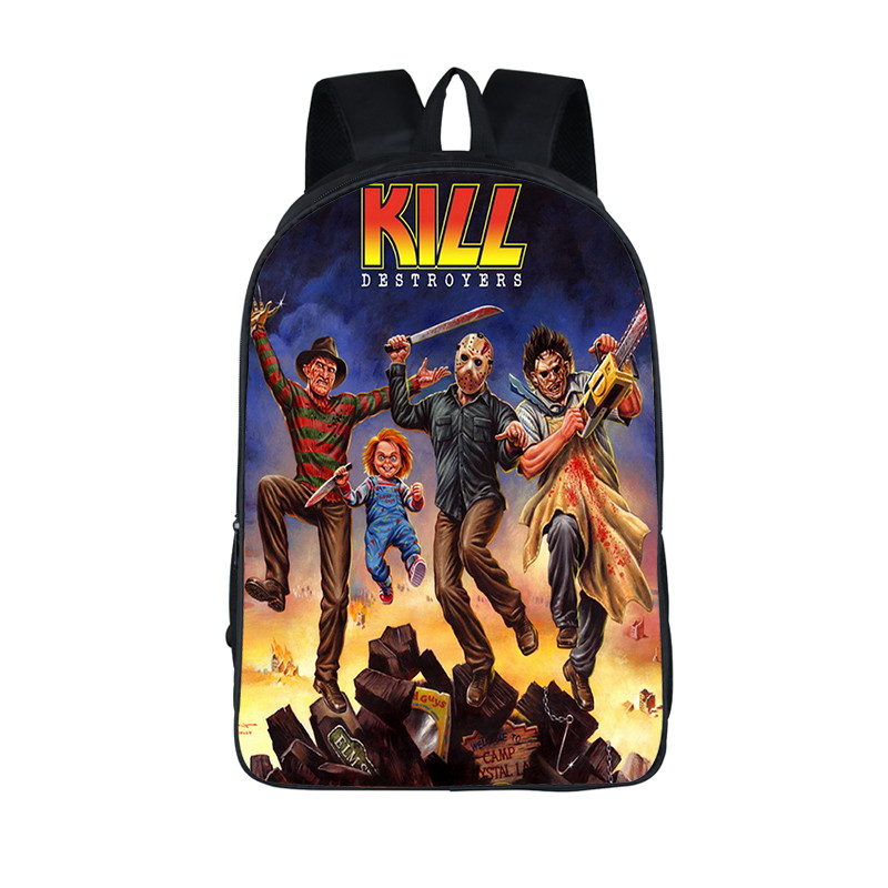 Horrible Nightmare Backpack Chucky Jason Freddy Children School Bags For Teenage Freedy VS Jason School Backpacks Kids Daily Bag children school bag minecraft cartoon backpack pupils printing school bags hot game backpacks for boys and girls mochila escolar