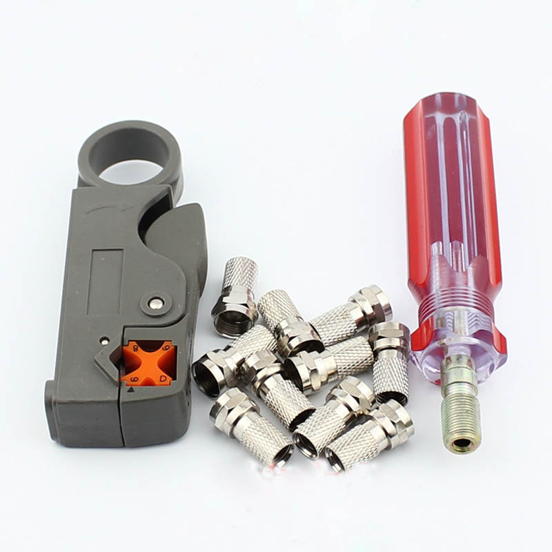5sets TV Cable F Connector Do Line Tools Extrusion 75-5 F Joints Stripping Knife 10 Pcs Inch F Connector Plug Boosters the 5 7 9 extrusion clamp rg6 rg11 pressing line clamp cable f head special tools