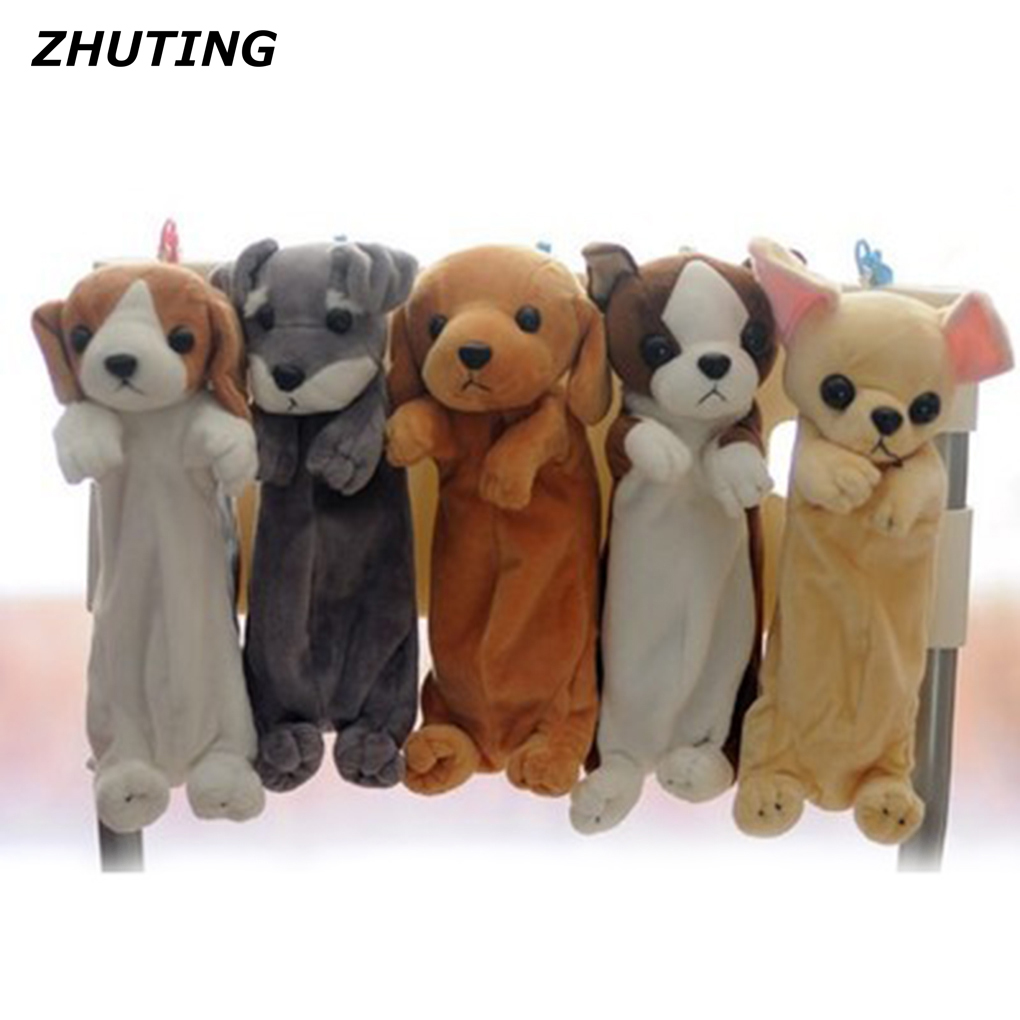 Cartoon Animal Dogs Soft Plush Pencil Pen Pouch Bag Stationery Case Lovely Learning Office Stationery Package