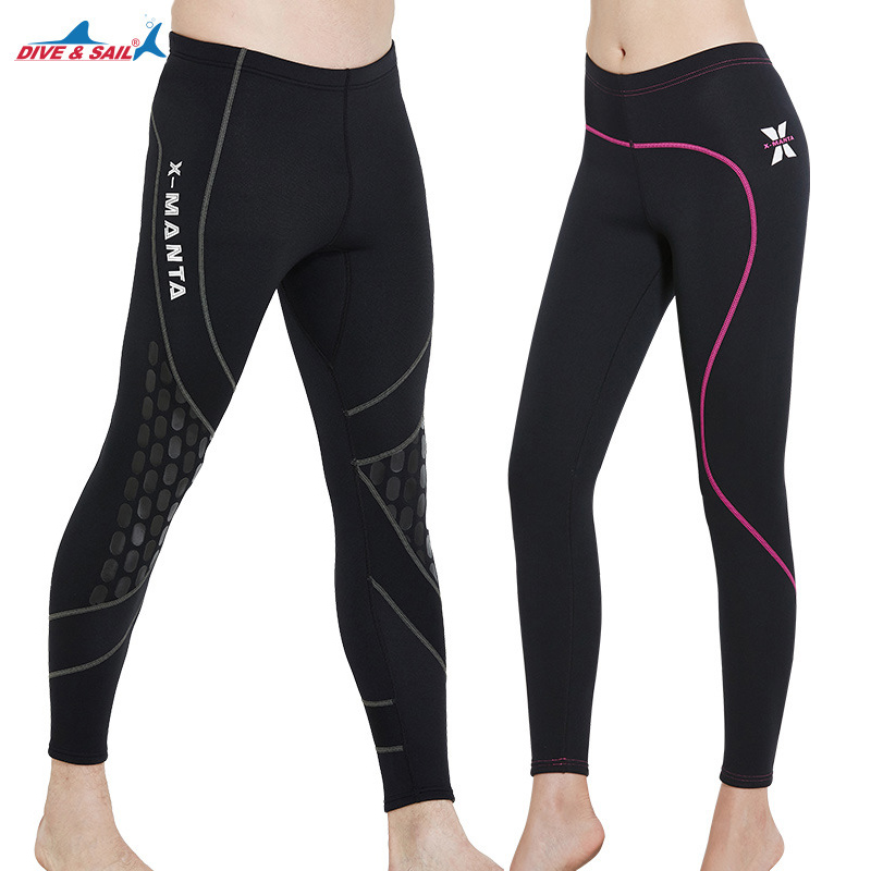 1.5MM Men and Women Neoprene Black Wetsuit Pants Winter Swimming Surfing Scuba Diving Snorkeling Ankle-Length Warm Long Pants