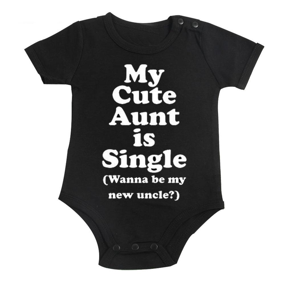 Culbutomind כותנה חמוד דודה שלי בייבי בגדים שרוול קצר אחד חתיכת שחור bodysuit בנים ובנות 0-12M התינוק התינוק להתקלח מתנה