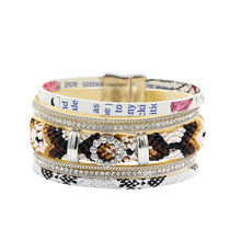 Bohemia Rhinestone Charm Bracelets For Women Multilayer Crochet Leather Vintage Wristband pulseira feminina