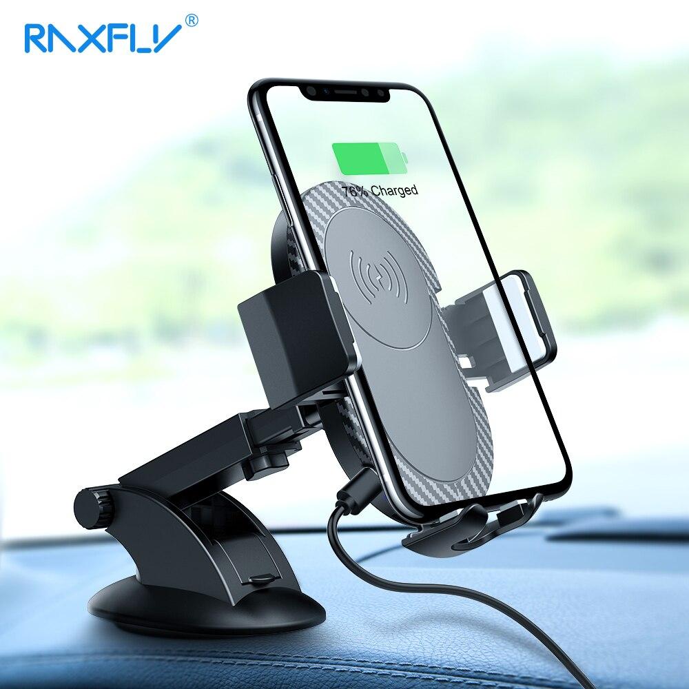 RAXFLY Qi Drahtlose Ladegerät Für iPhone X XS Max 10 watt Schnelle Drahtlose Lade Auto Ladegerät Air Vent-Halter stehen Für Samsung S9
