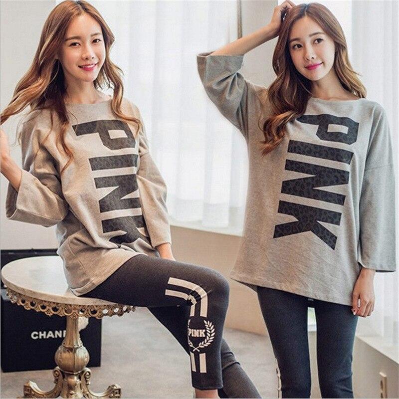 Pj Set 2019 Summer Long Sleeve Women Pajama Set Kawaii LetterPrint Pajamas for Women Pajamas Pant 2 Pieces Set Nightwear Pijamas