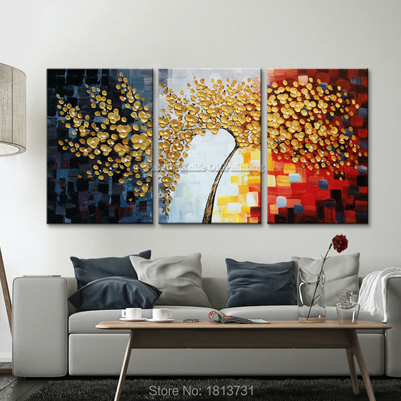 Art mural arbre peinture 3 pièces panneau Palette couteau peint à la main fleur peinture sur toile mur photos pour salon maison