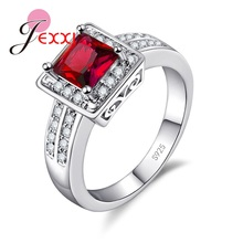 JEXXI Fashion Cubic Zirconia Wedding Engagement Rings For Woman 925 Sterling Silver Band Finger Ring For Brides Jewelry