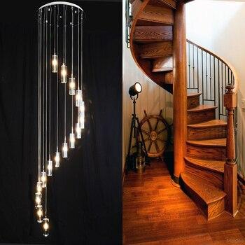 Treppe Große Kristall Anhänger Lampe Villa Luxus G4 LED Lange Kronleuchter Spalte Kristall Wohnzimmer Spirale Lampe