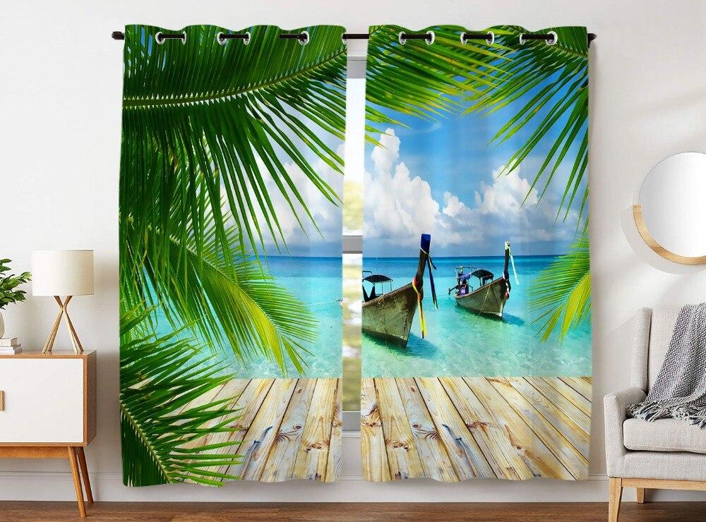 HommomH rideaux (2 panneaux) passe-fil noircissant chambre bleu mer bateau cocotier plancheHommomH rideaux (2 panneaux) passe-fil noircissant chambre bleu mer bateau cocotier planche