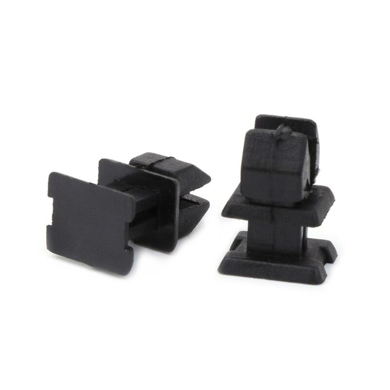 Set of 10 black plastic door panel clips