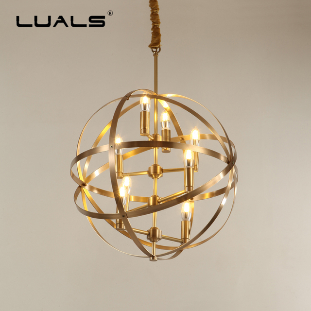 Luxurious Pure Copper Pendant Lamp Creative Spherical Pendant Light  High End Residential Hanging Lights Indoor LED Art Lighting