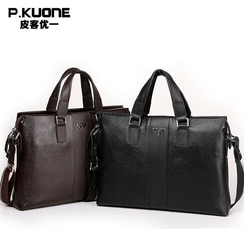 P Kuone Brand Designer 100 cowhide genuine leather handbags man leather business briefcase male laptop bag