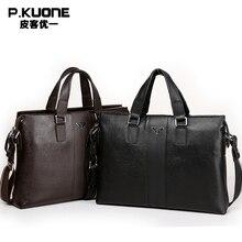 P. Kuone Marke Designer 100% rindleder-echtes leder-handtaschen mann leder business aktentasche männliche laptop-tasche männer messenger bags