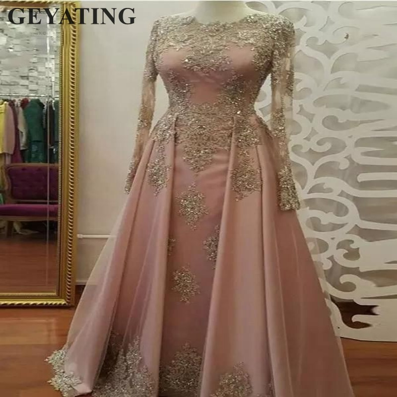 Saudi Arabia Muslim   Evening     Dresses   2019 Dubai Kaftan Blush Coral Long Sleeves Elegant Party Formal   Dress   Lace Appliques Beaded