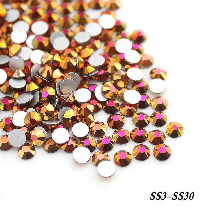 SS3 SS4 SS6 SS8 SS16 Gold Rose AB Color Non Hotfix Rhinestones Flatback Glass Strass 3D Nails Decorations For Nail Art Designs купить
