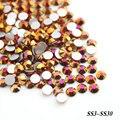 SS3 SS4 SS6 SS8 SS16 Ouro Rosa AB Cor Não Hotfix strass De Vidro Flatback Strass 3D Unhas Decorações Para Projetos Da Arte Do Prego