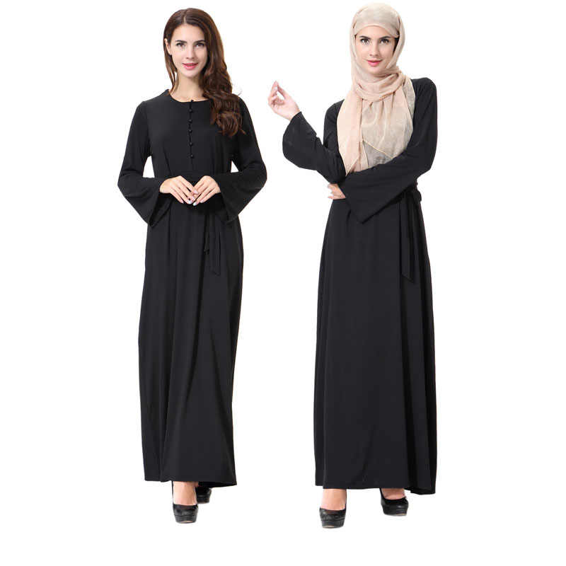 New Arab abaya dubai turkish middle east simple hijab dress knitted black  robe femme muslim dresses a6728626a522