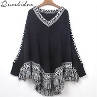 Women Batwing Knitwear Sleeve Tassels Hem Loose Pullover Blouse Irregularity Cloak Poncho Cape Tops Knitting Sweater