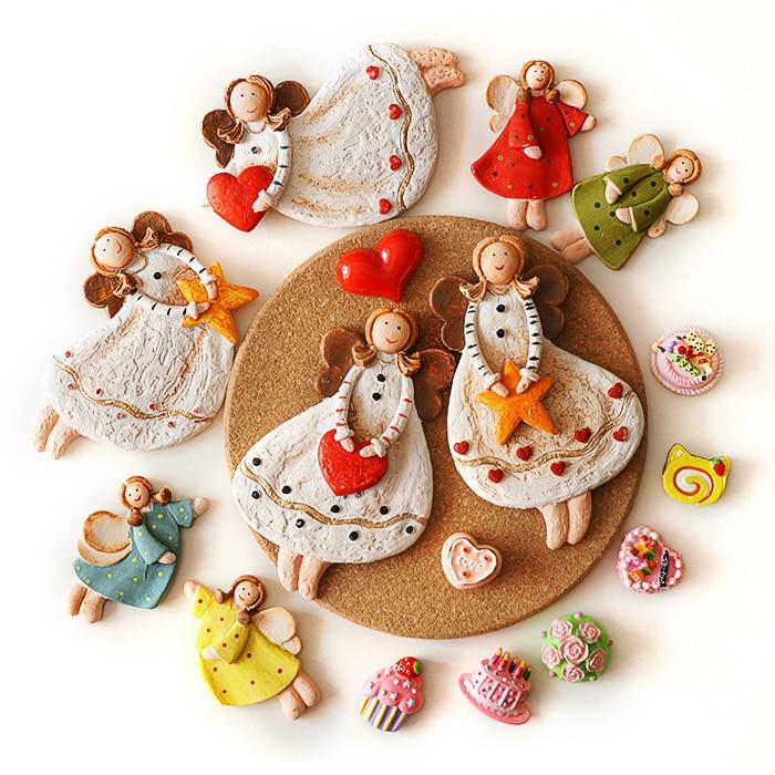 Милые винтажные рождественские Ангелы магниты на холодильник магнит на холодильник украшения дома смолы стикер мультфильм девушка с крыло...