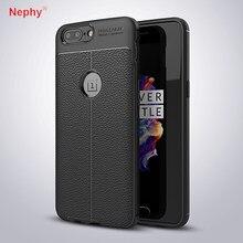 Nephy luxo caso de proteção fibra carbono para oneplus 5 t 6 silicone macio litchi couro coque para um mais 6 5 t capa fundas