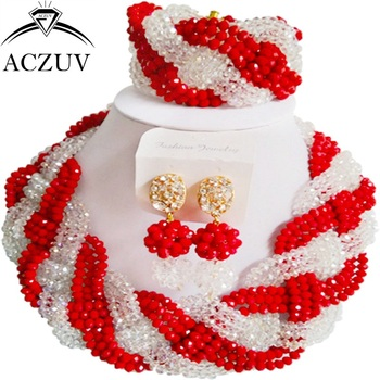 ACZUV Latest Red Transparent Crystal Women Costume African Beads Jewelry Set for Wedding Engagement Anniversary Party A12R002