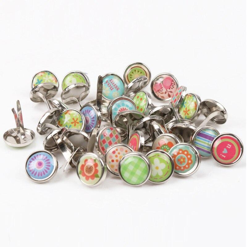 50pcs Mixed Round Metal Brad Studs Spikes Scrapbooking Embellishment Fastener Brads Crafts Pushpin Decoration 10x12mm MZ5X